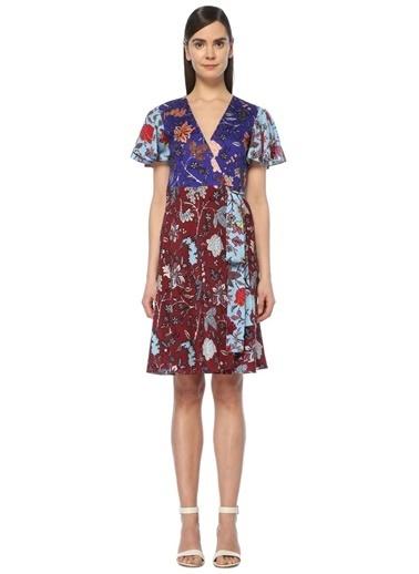 Diane Von Furstenberg V Yaka Kısa Kollu Desenli Elbise Renkli